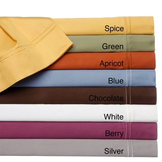 400 Thread Count Double Merrow Hem Cotton Rich Solid Sheet Set or Pillowcase Separates