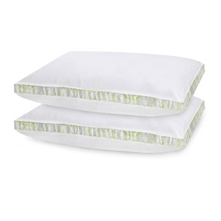 SwissLux White Cotton Gusseted Density Bed Pillows (Set of 2)