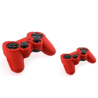 INSTEN Red Soft Silicone Phone Case Cover for Sony PS3 Controller (Pack of 2)