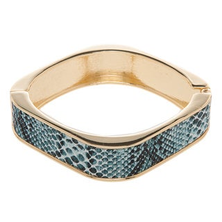 Kenneth Jay Lane Goldtone/ Blue Snake Print Bracelet