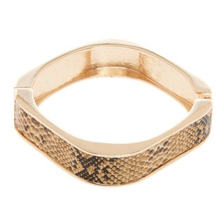 Kenneth Jay Lane Goldtone/ Tan Snake Print Bracelet