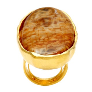 Kenneth Jay Lane Goldtone Satin White/ Brown Agate Oval Ring
