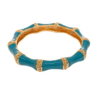 Kenneth Jay Lane Goldtone/ Turquoise Enamel Wide Bangle Bracelet