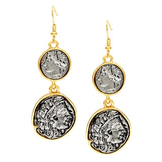 Kenneth Jay Lane Goldtone Antique Silvertone Coin Earrings