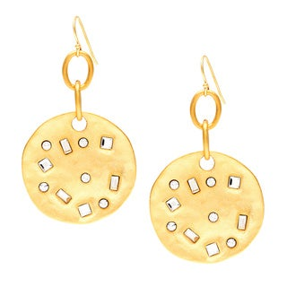 Kenneth Jay Lane Goldtone Crystal Coin Earrings