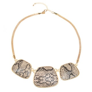 Kenneth Jay Lane Goldtone 3-part Beige Snake Print Disc Necklace