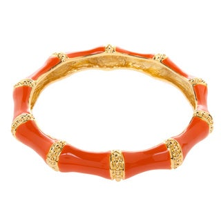 Kenneth Jay Lane Goldtone/ Coral Enamel Wide Bangle Bracelet
