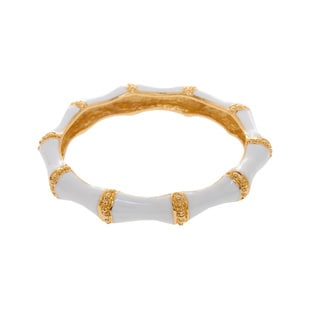 Kenneth Jay Lane Goldtone/ White Enamel Wide Bangle Bracelet