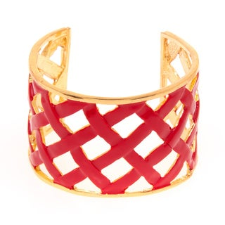 Kenneth Jay Lane Goldtone/ Red Enamel Basket Weave Cuff Bracelet