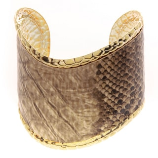 Kenneth Jay Lane Goldtone Polished Edge Snake Print Wave Cuff Bracelet
