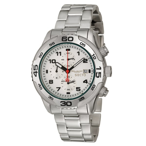 Sector Men's 'Mountain' Stainless Steel Chronograph Watch with Silver Bezel