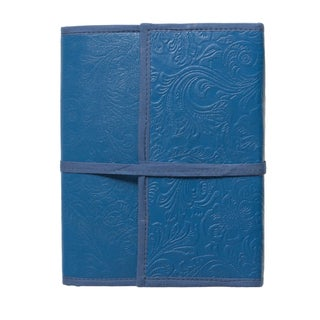 Sitara Handmade 80-page Indigo-blue Engraved Cruelty-free Leather Journal (India)