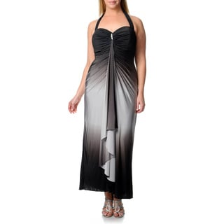 Onyx Nite Women's Plus Black/ Silver Cascading Front Dress