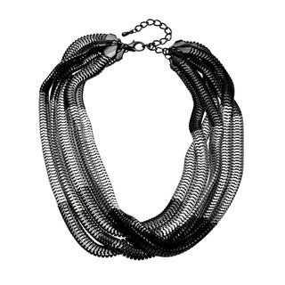 Kenneth Jay Lane Multi-strand Silver High Polish Box Necklace