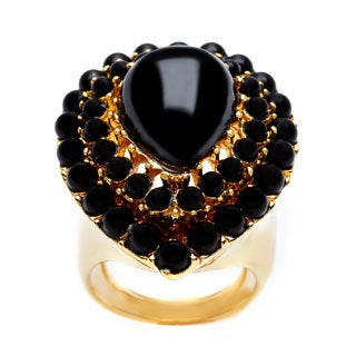 Kenneth Jay Lane Black Center/ Black Teardrop Size 6.5 Ring
