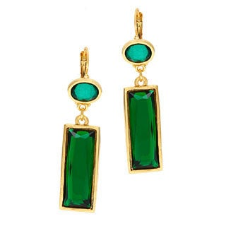 Kenneth Jay Lane Polished Goldtone Cab Top/ Emerald Drop Wire Earrings