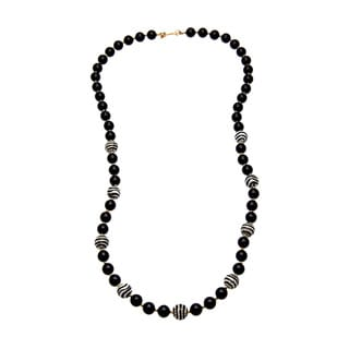 Kenneth Jay Lane Animal and Black Beaded Necklace