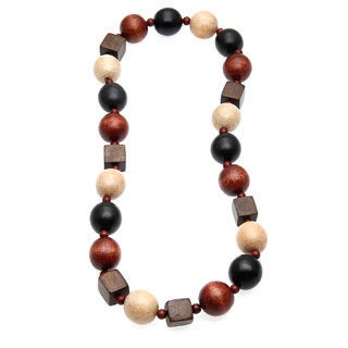 Kenneth Jay Lane Multi-Shape Wooden Bead Necklace