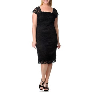 Onyx Nite Women's Plus Black V-back Beaded Lace Dress
