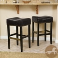 Christopher Knight Home Louigi Black Backless Leather Barstools (Set of 2)