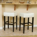 Christopher Knight Home Louigi Ivory Backless Leather Barstools (Set of 2)