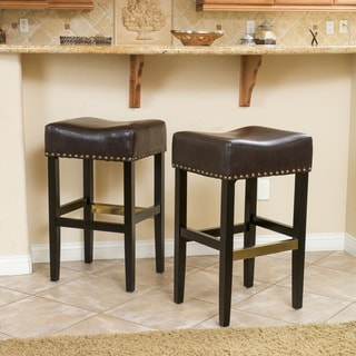 Christopher Knight Home Louigi Brown Backless Leather Barstool (Set of 2)