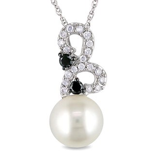 Miadora 10k White Gold Pearl and 1/4ct TDW Black and White Diamond Necklace (H-I, I2-I3) (8.5-9 mm)