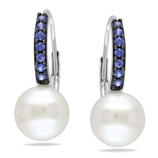 Miadora 10k White Gold White Pearl and Sapphire Earrings (8.5-9 mm)