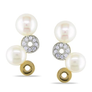 Miadora 14k Yellow Gold White Cultured Freshwater Pearl and Diamond Dangle Earrings (I-J, I2-I3) (5.5-6.5 mm)