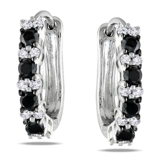 Miadora Sterling Silver 1/2ct TDW Black and White Diamond Earrings (H-I, I2-I3)