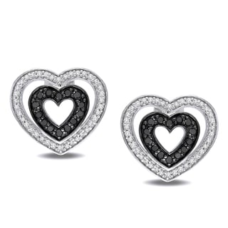 Miadora Sterling Silver 1/2ct TDW Black and White Diamond Heart Earrings (H-I, I2-I3)