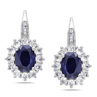 Miadora Sterling Silver Created Blue/ White Sapphire and Diamond Earrings