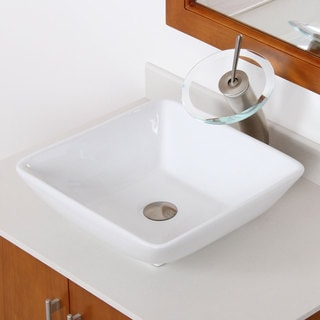 Elite High-temperature Ceramic Square Bathroom Sink / Brushed Nickel Waterfall Faucet Combo