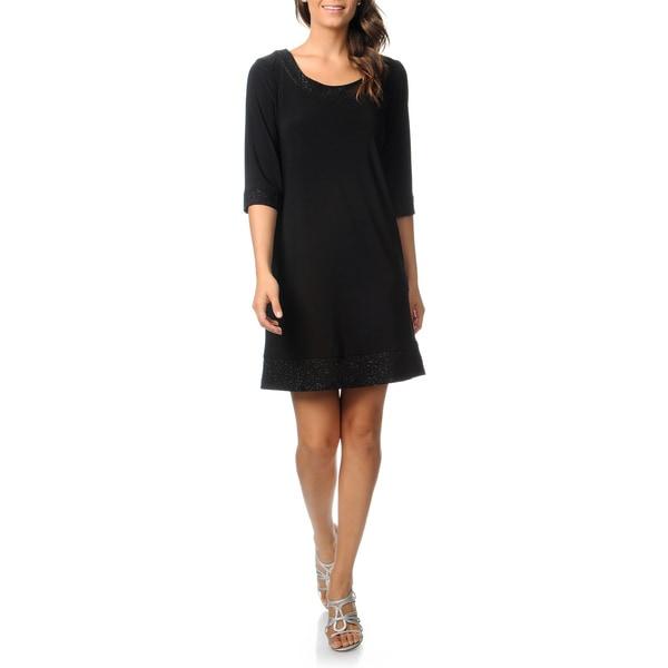 R & M Richards Women's Black Glitter Trim Jersey Dress