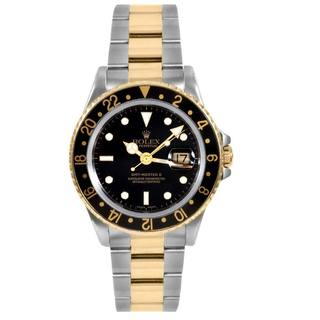 Pre-owned Rolex Mens GMT 2 18-karat Yellow Gold-accented Watch