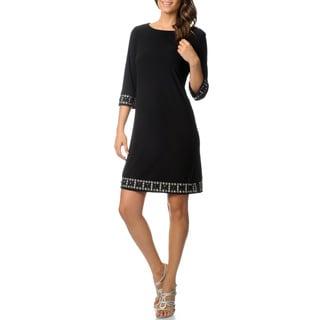 R & M Richards Women's Black Beaded Trim Jersey Knit Dress
