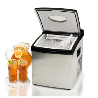 Portable Stainless Steel/ Black Automatic Clear Ice Machine