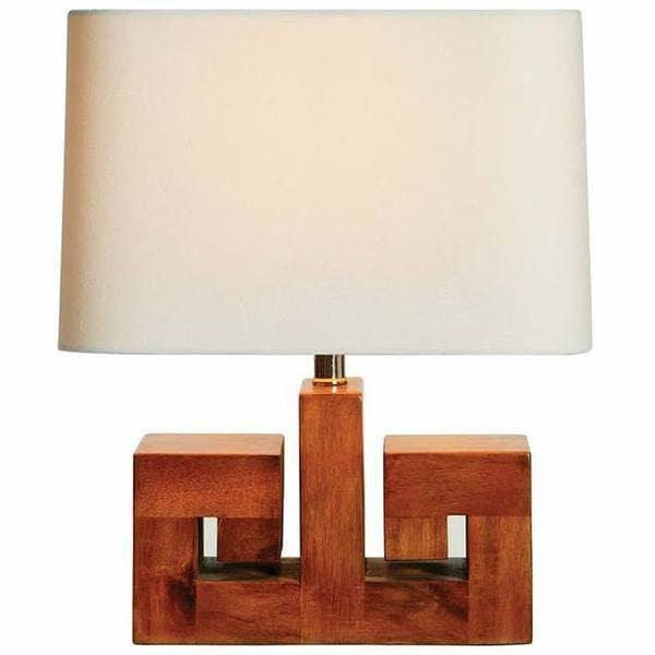 Walnut / Off-white 18-inch Accent Lamp