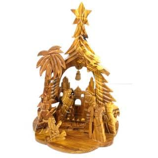 Handmade Olive Wood Nativity with Bell, Angel, Tree and Star (West Bank)