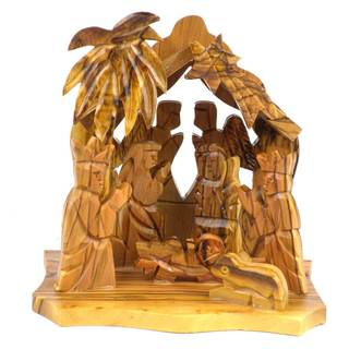 Handmade Two Angels Olive Wood Nativity (West Bank)