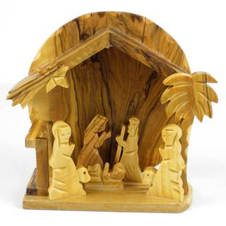 Handmade Olive Wood Medium Rising Sun Nativity (West Bank)