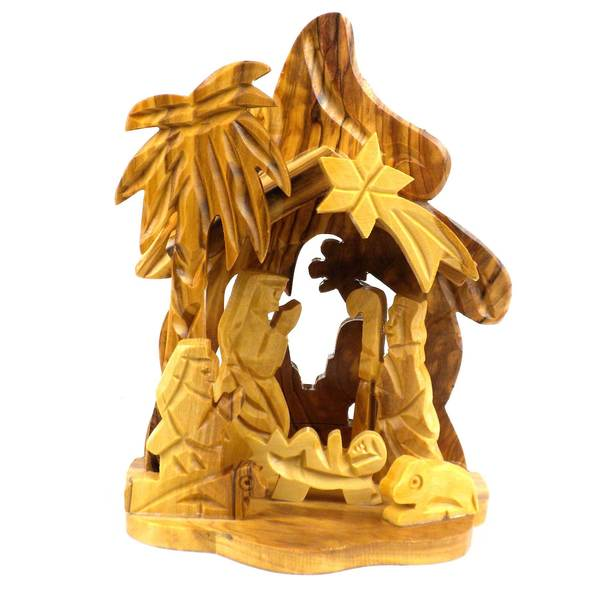 Handmade Tropical Design Olive Wood Nativity (West Bank)