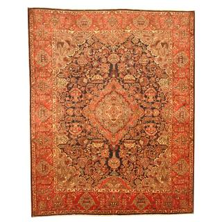 Persian Hand-knotted Kashmar Navy/ Red Wool Rug (9'8 x 12'4)