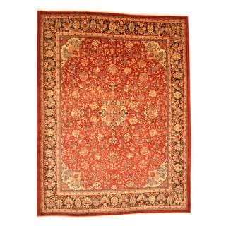 Persian Hand-knotted Mahal Red/ Navy Wool Rug (10'3 x 13'7)