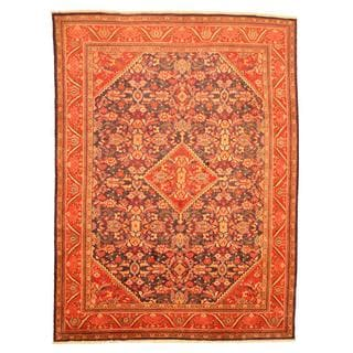 Persian Hand-knotted Mahal Navy/ Red Wool Rug (10'2 x 13'9)