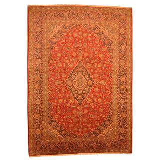 Antique 1960's Persian Hand-knotted Kashan Red/ Navy Wool Rug (9'8 x 13'8)
