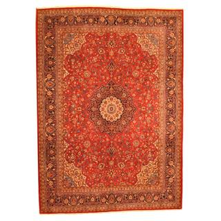 Persian Hand-knotted Mahal Red/ Navy Wool Rug (9'10 x 13'7)