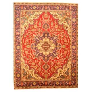Persian Hand-knotted Tabriz Red/ Navy Wool Rug (9'7 x 12'8)