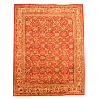 Antique 1940's Persian Hand-knotted Mahal Red/ Ivory Wool Rug (9'6 x 12'2)