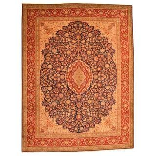 Persian Hand-knotted Tabriz Navy/ Red Wool Rug (9'10 x 13')